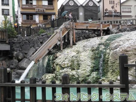 草津温泉:湯畑の湯滝